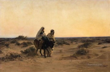 Orientalist Art Painting - The Flight into Egypt Eugene Girardet Orientalist Jewish