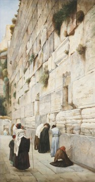 WESTERN WALL JERUSALEM watercolor Gustav Bauernfeind Orientalist Jewish Oil Paintings
