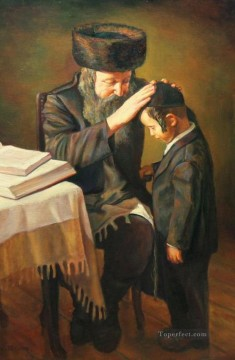 grandpa and boy Jewish Oil Paintings