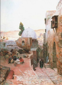 A Street in Jerusalem Gustav Bauernfeind Orientalist Jewish Oil Paintings