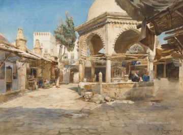 A Well in Jaffa Gustav Bauernfeind Orientalist Jewish Oil Paintings