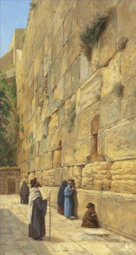 At the Wailing Wal Gustav Bauernfeind Orientalist Jewish Oil Paintings