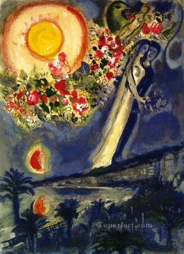 Lovers in the sky of Nice MC Jewish Oil Paintings