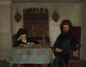 Rabbi with Young Student Isidor Kaufmann Hungarian Jewish Oil Paintings