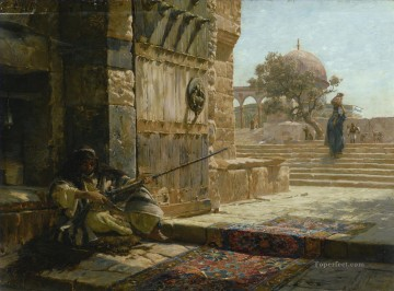 Orientalist Art Painting - SENTINEL AT THE ENTRANCE TO THE TEMPLE MOUNT JERUSALEM Gustav Bauernfeind Orientalist Jewish