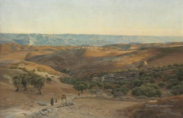 Orientalist Art Painting - The Mountains of Maob seen from Bethany Gustav Bauernfeind Orientalist Jewish