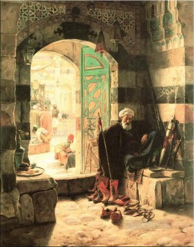 Orientalist Art Painting - Warden of the Mosque Gustav Bauernfeind Orientalist Jewish