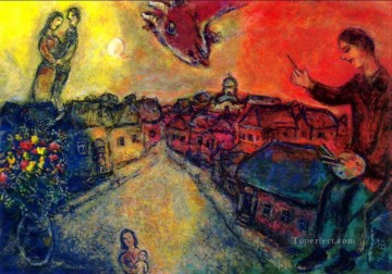 Artist over Vitebsk 2 MC Jewish Oil Paintings
