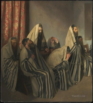 Jews Mourning in a Synagogue by Sir William Rothenstein Jewish Oil Paintings