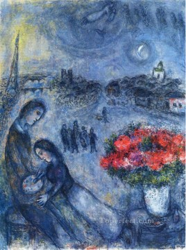Newlyweds with Paris in the Background MC Jewish Oil Paintings
