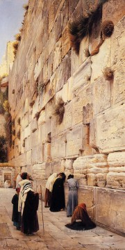 Orientalist Art Painting - The Wailing Wall Jerusalem oil on canvas Gustav Bauernfeind Orientalist Jewish