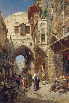 David street Jerusalem Gustav Bauernfeind Orientalist Jewish Oil Paintings
