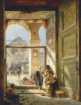 Orientalist Art Painting - The Gate of the Great Umayyad Mosque Damascus Gustav Bauernfeind Orientalist Jewish