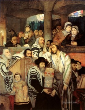 Maurycy Gottlieb Jews Praying in the Synagogue on Yom Kippur Jewish Oil Paintings