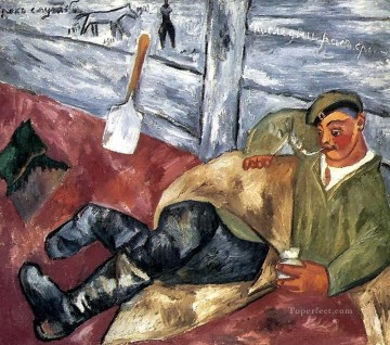 vagabonds resting in a cave Painting - resting soldier 1911 Russian
