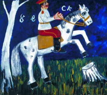 horse racing Painting - soldier on a horse 1911 Russian