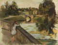 the bridge at gatchina karpin pond 1923 Russian