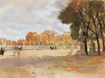 Russian Painting - the luxembourg gardens 1946 Russian