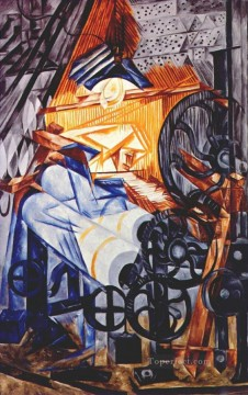Russian Painting - the weaver loom woman 1913 Russian