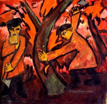 Russian Painting - woodcutters Russian