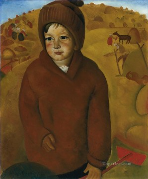 Russian Painting - BOY AT HARVEST TIME Boris Dmitrievich Grigoriev