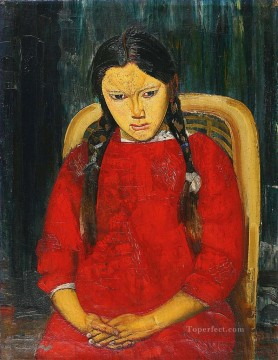 Russian Painting - GIRL IN RED Boris Dmitrievich Grigoriev