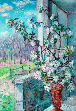 Russian Painting - blossoming branch in a vase 1960 Russian