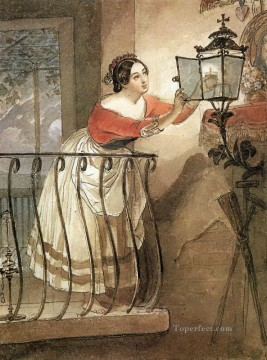 Russian Painting - italian woman lightning a lamp in front of the image of madonna Karl Bryullov