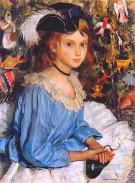 Russian Painting - katya in blue dress by christmas tree Russian