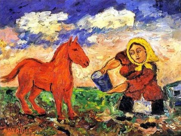 horse racing Painting - peasant and horse 1910 Russian