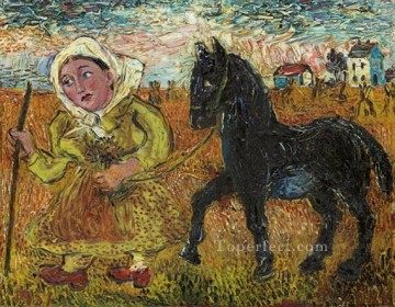horse racing Painting - woman in yellow dress with black horse 1951 Russian