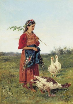 Russian Painting - a girl with geese 1875 Vladimir Makovsky Russian