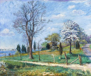 Russian Painting - a lakeshore 1953 Russian