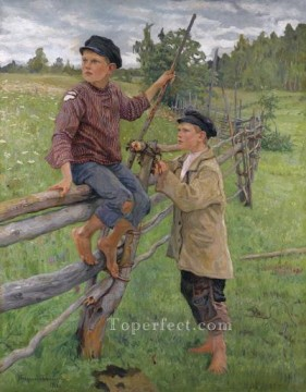 Russian Painting - country boys Nikolay Belsky Russian