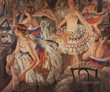 Russian Painting - in ballet dressing room big ballerinas Russian