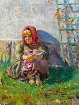 Russian Painting - little girl in a garden Nikolay Belsky Russian