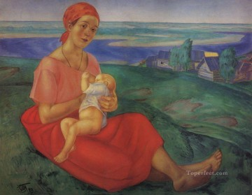 Russian Painting - mother child maternity 1913 Kuzma Petrov Vodkin