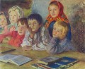 children in a class Nikolay Belsky Russian