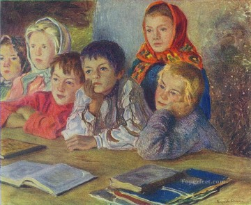 Russian Painting - children in a class Nikolay Belsky Russian