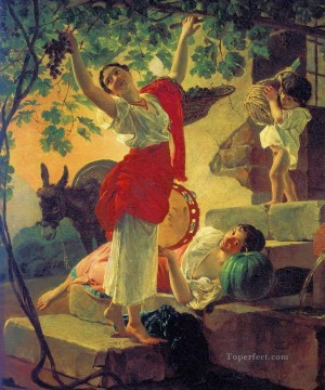 Naples Canvas - girl gathering grapes in a suburb of naples Karl Bryullov