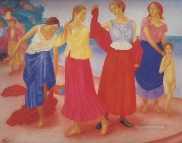 Russian Painting - girls on the volga 1915 Kuzma Petrov Vodkin