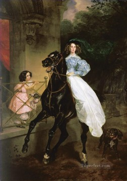 Russian Painting - rider portrait of giovanina amacilia pacini foster children of countess samoilova Karl Bryullov