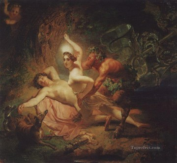 Russian Painting - diana endymion and satyr Karl Bryullov