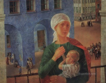 Russian Painting - in petrograd Kuzma Petrov Vodkin mother child maternity