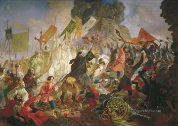 Polish Oil Painting - siege of pskov by polish king stefan batory in 1581 1843 Karl Bryullov