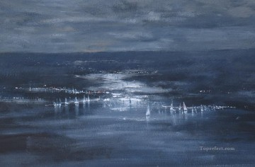 moonlight regatta abstract seascape Oil Paintings