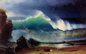 Seascape Painting - Albert Bierstadt The Shore of the Turquoise Sea Ocean Waves