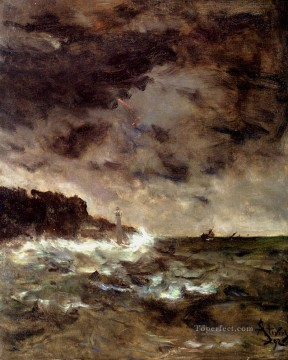 Alfred Stevens A Stormy Night seascape Oil Paintings