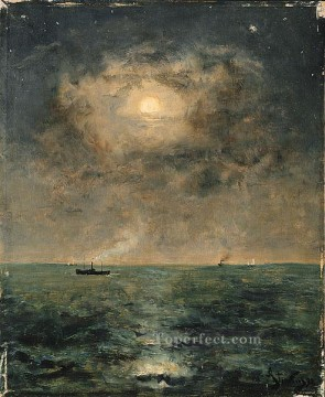Alfred Stevens Moonlit seascape Oil Paintings