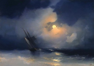 Ivan Aivazovsky storm at sea on a moonlit night Seascape Oil Paintings